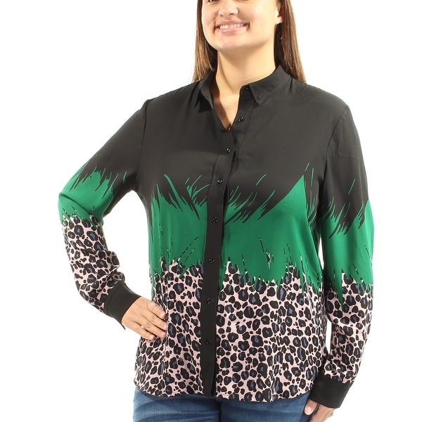 09bf89b77f07 Shop ANNE KLEIN $79 Womens New 1388 Green Black Animal Print Button Up Top  16 B+B - Free Shipping On Orders Over $45 - Overstock - 22425579