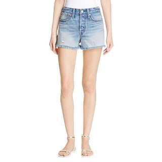 Levi's Womens Wedgie Denim Shorts Distressed Patch Pockets
