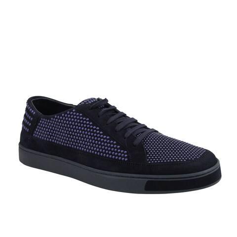 Gucci Men's Bubble Studs Lace up Dark Blue Suede Leather Sneaker 391688 4018