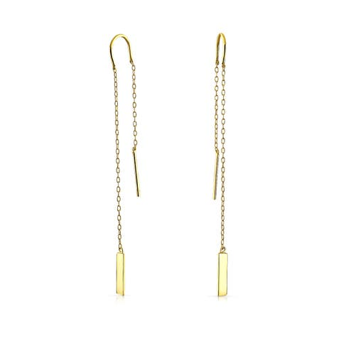 Minimalist Geometric Drop Bar Chain Threader Earrings For Women Teen 14K Gold Plated 925 Sterling Silver