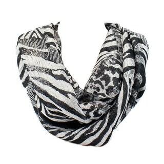 Apt. 9 Metallic Rayon Animal Print Black Silver Infinity Scarf Wrap - Black Silver - Large