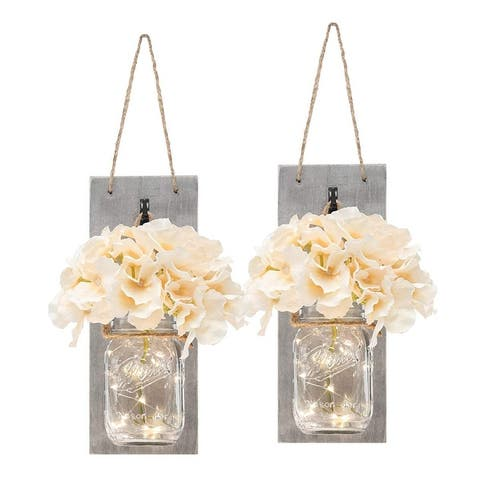 Set of Two Lighted Sconces Country Rustic Mason Jar Wall Sconce - Medium