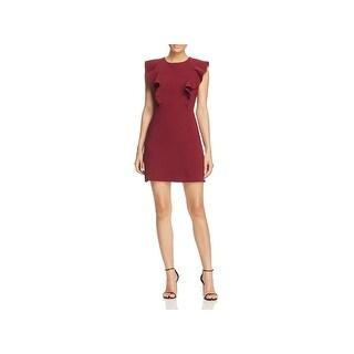 Lucy Paris Womens Terri Wear to Work Dress Ruffle Flutter Sleeves
