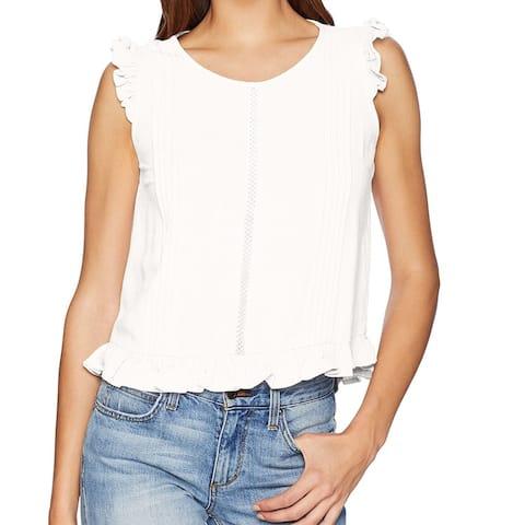 MINKPINK Women's Blouse White Ivory Size Medium M Ruffle Pleat Trim