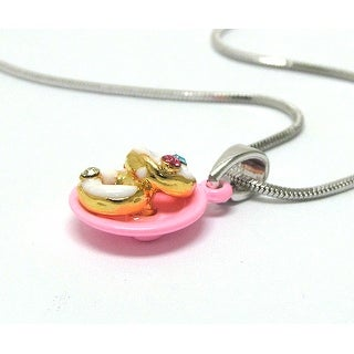 Children's Two Miniature Donut Pendant Necklace - Pink