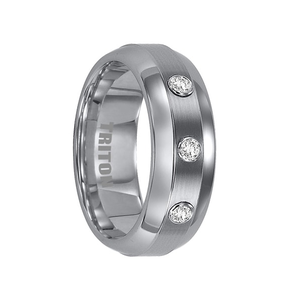 ARCHER Domed Tungsten Ring with Raised Satin Center and 3 White Diamonds by Triton Rings - 8mm