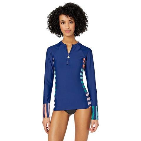 Next Women's Long Sleeve Zip Swimsuit Surf Shirt, Stripe, Blue, Size Small