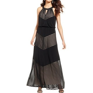 London Times Womens Maxi Dress Sleeveless Illusion
