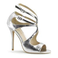 Pleaser Women's Amuse 15 Silver Metallic PU