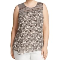 Nic + Zoe Black Beige Monkey Print Women's 2X Plus Overlay Blouse