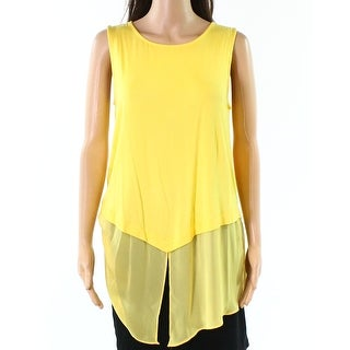 Alfani NEW Yellow Burst Women's Size XL Knit Tank Chiffon-Hem Blouse