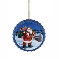 "4"" Retro Santa Claus Blue Glittered Decoupage Bottle Cap Christmas Ornament"