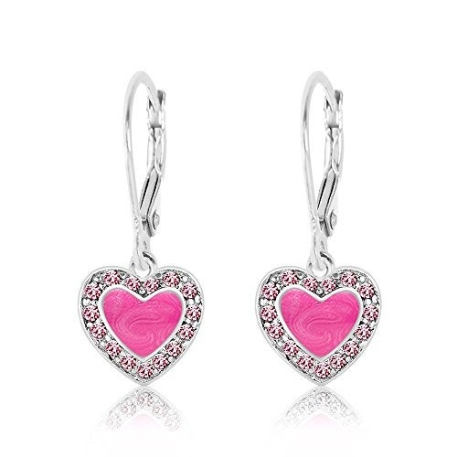 New 925 Sterling Silver with a White Gold Tone Pink Enamel Heart Kids Earrings