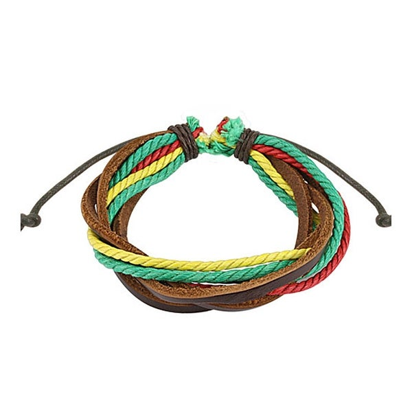 Brown with Triple Colored Rasta Leather Bracelet with Drawstrings (10 mm) - 7.5 in