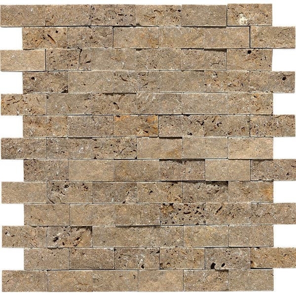 Daltile T312sfs Travertine 1 X 2 Brick Joint Mosaic Wall Tile Noce Overstock 18151405