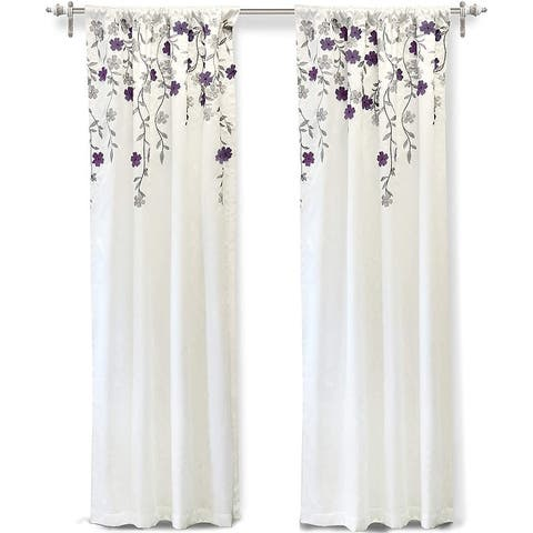 DriftAway Isabella Faux Silk Embroidered Curtain Crafted Flower Lined with Thermal Fabric