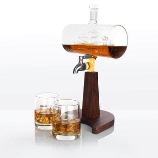 Atterstone Cylinder Ship Whiskey Decanter Full Set - Whiskey Glasses, Mahogany Stand, and Whiskey Sipping Stones