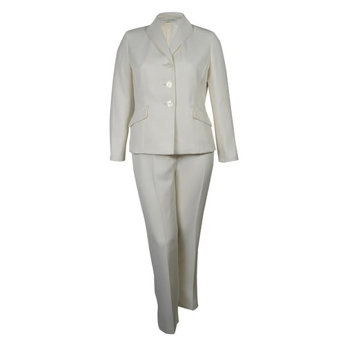 Evan Picone Women's City Chic Textured Three Button Pant Suit - Ivory