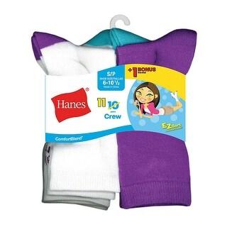 Hanes ComfortBlend EZ-Sort Girls' Crew Socks 11-Pack (Includes 1 Free Bonus Pair) - M