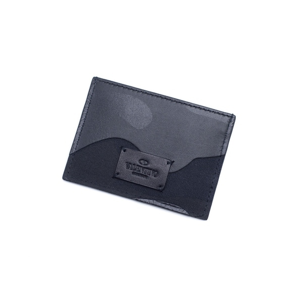 Valentino Unisex Black Camouflage Card Holder Wallet