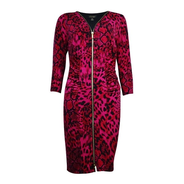 fc4c1e7663f Shop Thalia Sodi Women s Zip Up Animal Print Bodycon Dress - fresh  raspberry combo - Free Shipping On Orders Over  45 - Overstock - 14815365