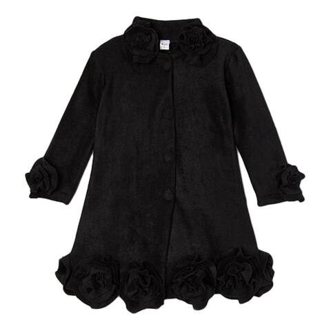 Little Girls Black Rosette Flower Trim Collar Sleeve Cuff Coat