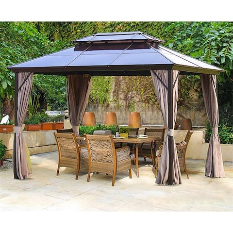 Outdoor Double Roof Gazebo with Netting and Curtains
