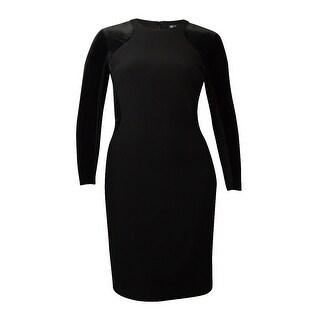 INC International Concepts Women's Velvet Sheath Jersey Dress - Black - 16