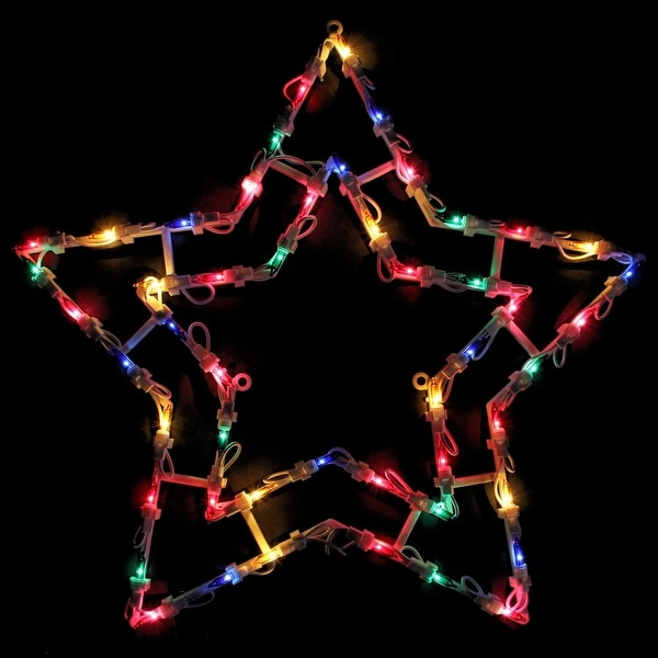 """18"""" Multi-Color Lighted Star Christmas Window Silhouette Decoration - WHITE"""