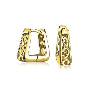Bling Jewelry Gold Plated 925 Silver Square Filigree Small Hoop Hoop Earrings