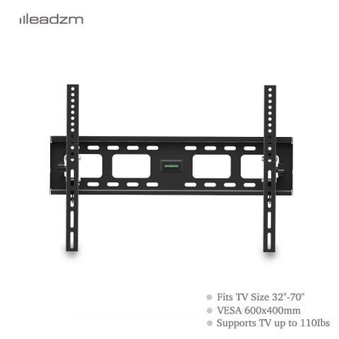 "LEADZM TMW600 32-70"" Flat Tilting TV Wall Mount with Spirit Level - Black"