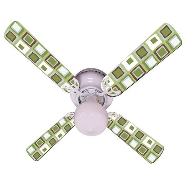 Green White Mod Squares Print Blades 42in Ceiling Fan Light Kit - Multi