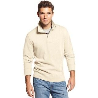 Tommy Hilfiger Middlebury 1/4 Zip Mockneck Sweatshirt Seedpearl Ivory X-Large XL