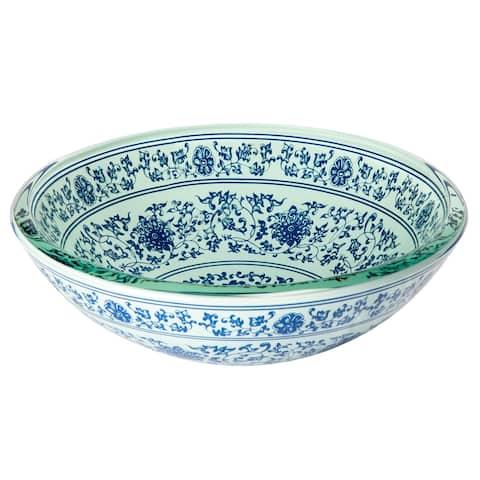 Eden Bath Ming Dynasty Glass Vessel Sink - Blue