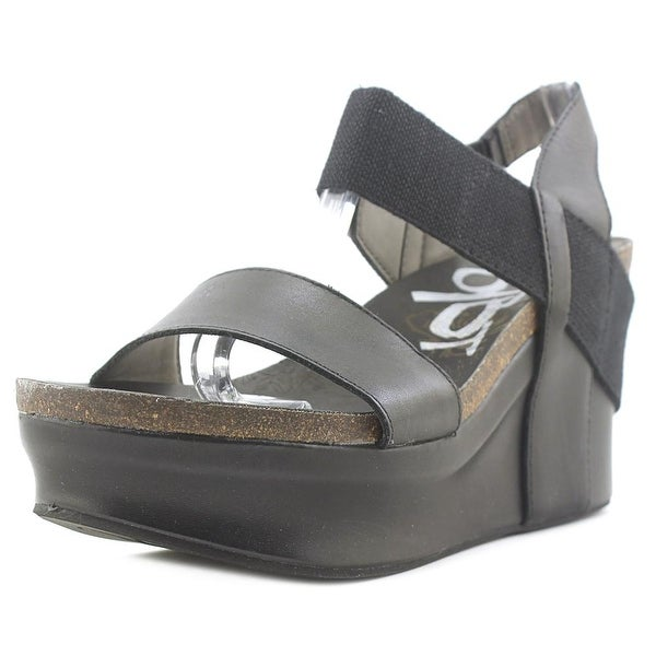 OTBT Bushnell Women Open Toe Leather Black Wedge Sandal
