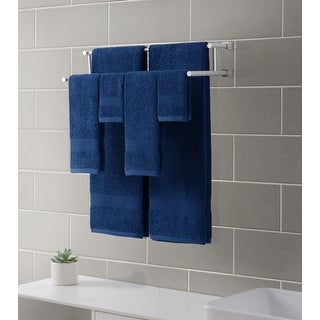 Downtown Collection Ribbed Luxury 6-Piece Towel Set, Indigo-Blue
