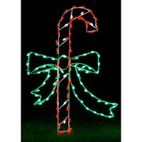 Christmas at Winterland WL-GM107-LED LED Light Candy Cane with Bow - MultiColor