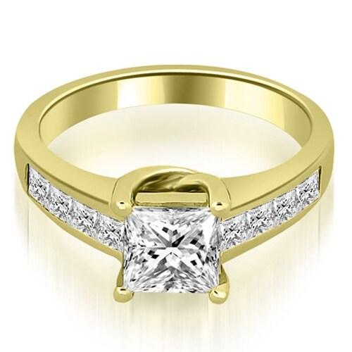 1.00 cttw. 14K Yellow Gold Channel Princess Cut Diamond Engagement Ring,HI,SI1-2