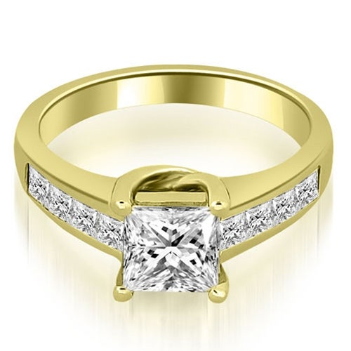 1.25 cttw. 14K Yellow Gold Channel Princess Cut Diamond Engagement Ring