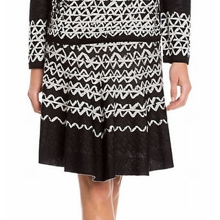Nic+Zoe NEW Black Women's Size Small PS Petite Geo-Print Stretch Knit