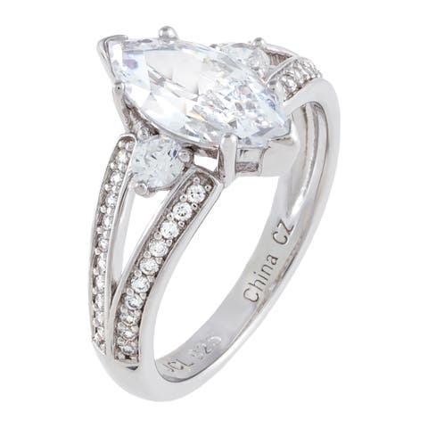 3-Stone Marquise Cubic Zirconia Center Engagement Ring, Sterling Silver