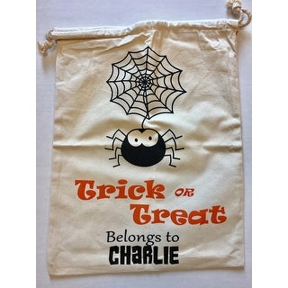 Personalize It Halloween Spider Tricks Goody Loot Bag Drawstring Tote Cotton