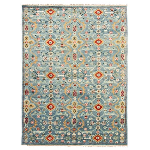 ECARPETGALLERY Hand-knotted Finest Oushak Blue Wool Rug - 9'0 x 12'0