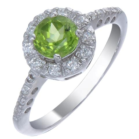 0.65 cttw Peridot Ring in .925 Sterling Silver with Rhodium Plating Halo Round