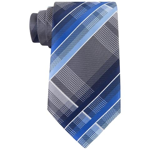 Geoffrey Beene Mens Fearless Plaid Self-tied Necktie, blue, Classic (57 To 59 in.) - Classic (57 To 59 in.)