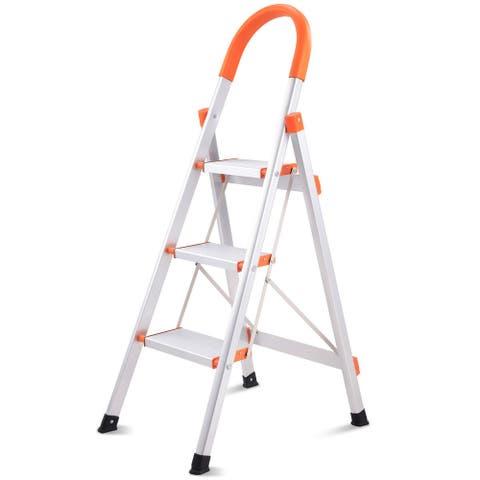 Costway New Non-slip 3 Step Aluminum Ladder Folding Platform Stool 330