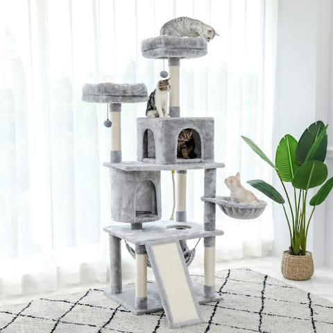 Presale Cat Tree with Double Condos, Hammocks, Perches& Hanging Balls