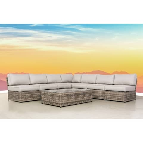 LSI 8 Piece Rattan Sectional Seating Group with Cushions