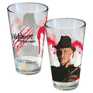 Icup Freddy Krueger Pint Glass - Printed Nightmare On Elm Street Horror Movie Cup - 16 Oz. Each