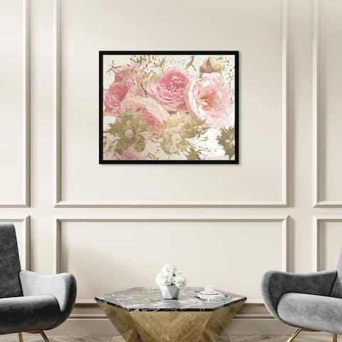 Oliver Gal 'Serving Flowers' Floral and Botanical Wall Art Framed Print Florals - Pink, Gold